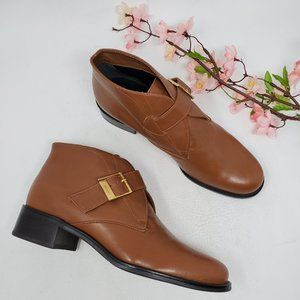 Etienne Aigner Brown Leather Ankle Boots 7 M